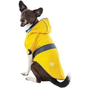 Other - Reversible Yellow/Navy Polka Dot Dog Raincoat